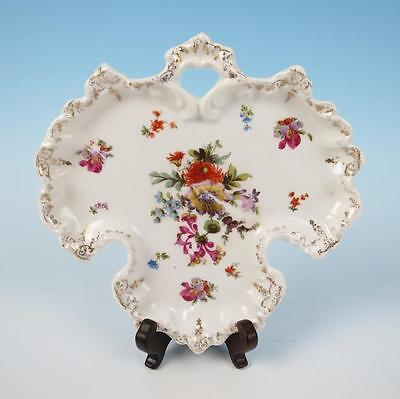 SCHLEGELMILCH German Porcelain Dresden Flowers Dish Tray Gold Prussia E.S.
