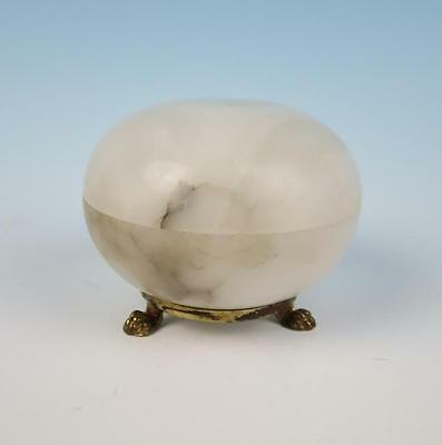 Vintage Carved Alabaster Dresser Trinket Box Vanity Italian Claw Feet Jewelry