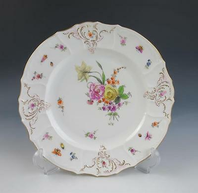"Antique CARL THIEME Dresden Porcelain 9.75"" Dinner Plate Insects Flowers Germany"