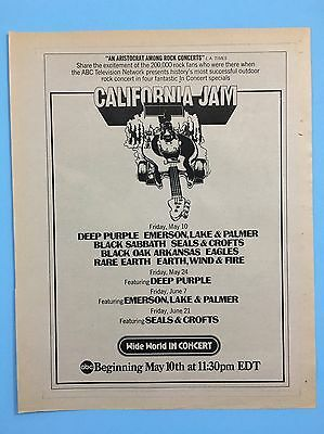 CALIFORNIA JAM Print Promo Ad For Tickets And Times: ELP, Sabbath, Deep Purple