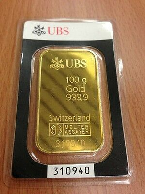 lingot or UBS  100 grammes neuf avec certificat pieces en or gold bar