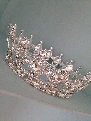 Full Clear Silver Crown . Beauty Pageant Crown / Wedding Crown / Stage . Full