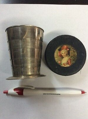 Antique Pennsylvania RR Travel Folding Cup With Case