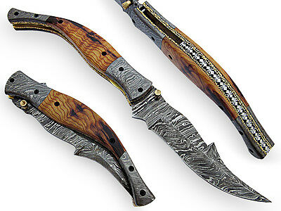 Hande Made Damascus Steel  Folding Knife With Double Bloster