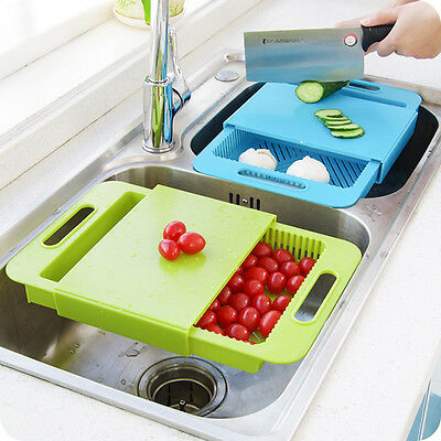 Sliding Cutting Chopping Board With Collect Food Drawer Tray-Plastic