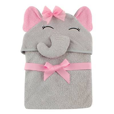 Hudson Baby Animal Face Hooded Towel for Baby Girls Pretty Pink Elephant