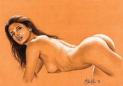 NUDE FEMALE ART STUDY  A4 PRINT of the original pastel drawing