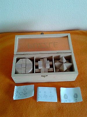 Set of 3 Wooden Brain Teaser Puzzle Games in Wooden Box