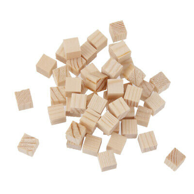 50Pcs Blank Wooden Blocks Cubes Embellishments for DIY Craft Hobby Toy