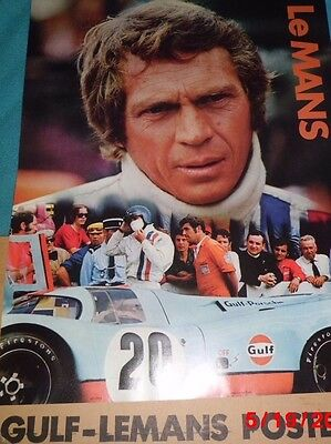 1971 Steve McQueen/Gulf Oil Lemans Poster -Original-Not a Repro!!! 45 Years Old!