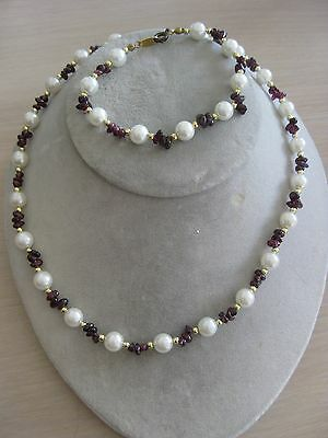 Estate Costume Rhodalite Garnet Faux Pearl and Bead Necklace Bracelet Set