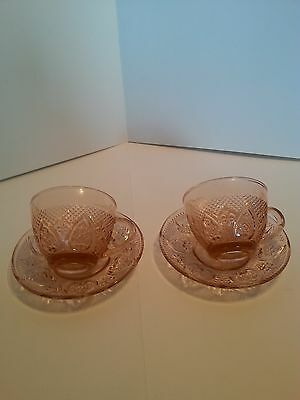 Depression Glass Lot Of 2 Pink Teacups And Saucers