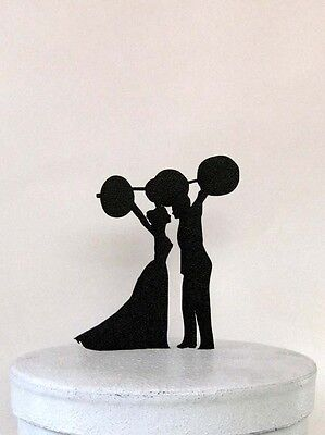 Wedding Cake Topper - Weightlifting, crossfitters wedding