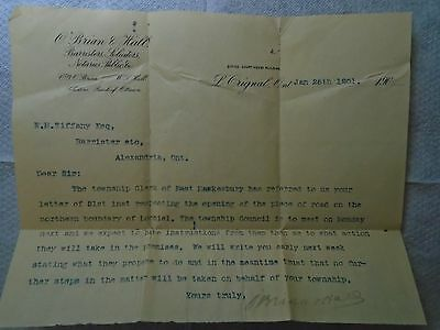 2 old letters Barristers & Solicitors & Imperial Bank Of Canada Ottawa.1914&01