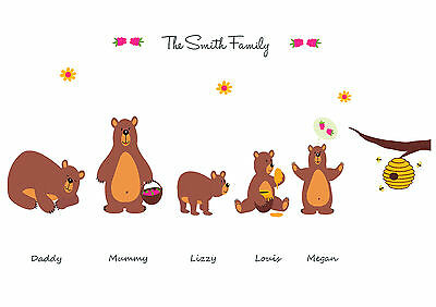 Personalised Family Brown Bear Honey Print  - Build Your Own Family Tree Gift