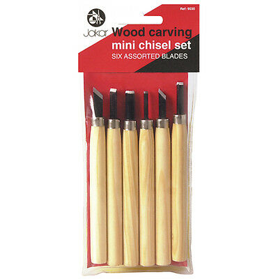 Jakar Mini wood carving tool set of 6 assorted tools with Wooden handles