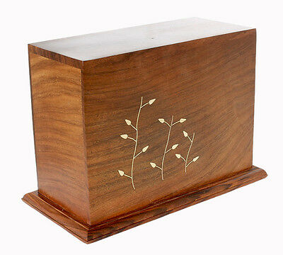 Solid Wood Ashes Urn Casket, Cremation Urn for Funeral Memorial for Small Adult