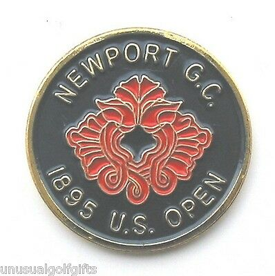 "US OPEN 1895 1"" GOLF GOLD PLATED BALL MARKER - NEWPORT GOLF CLUB  1st EVER HELD!"