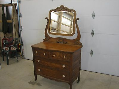 Antique Dressor with Beveled Mirror