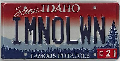 IDAHO LICENSE PLATE PERSONALIZED (vanity) IMNOLWN (I'm no old woman)