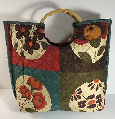 "Quilted Essence Bag/Tote Handmade Moda Fabric 19""x15"" Bamboo Handles"