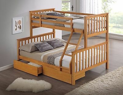 Hardwood Triple Bunk Bed With Drawers | Wooden Three Sleeper Bunks