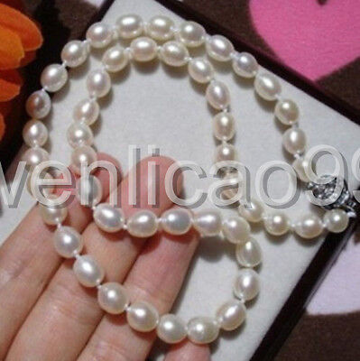 """6-7MM WHITE Cultured FRESHWATER RICE PEARL NECKLACE 17"""" silver clasp"""