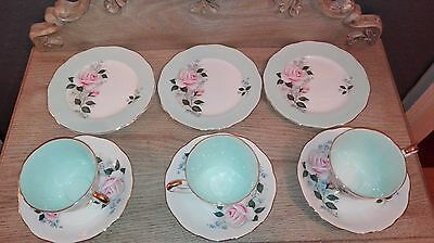 Queen Anne ''Cherie'' set of 3 cups saucers and cake plates
