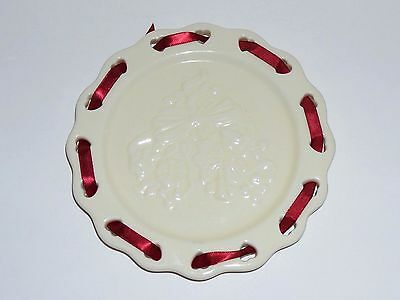 "Longaberger Pottery Ivory White ""Sweetest Heart Candle Plate"" (31083)"
