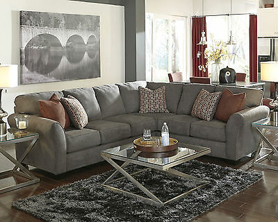 MERIDA - Large Modern Gray Microfiber Living Room Sofa Couch Sectional Set New