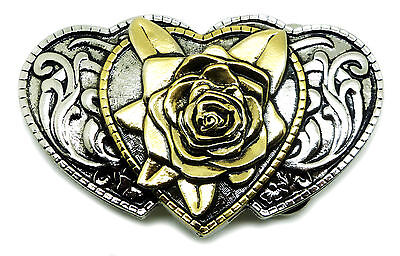 Rose & Hearts Belt Buckle Womens Floral Western Official White Wolf 24ct Gold