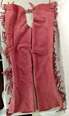 Pink Suede Leather Motorcycle Chaps Fringe Ladies Womens Biker Whitman USA