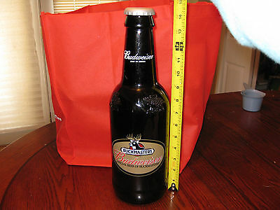 Large Glass Budweiser Collectible Bottle With Plastic Cap