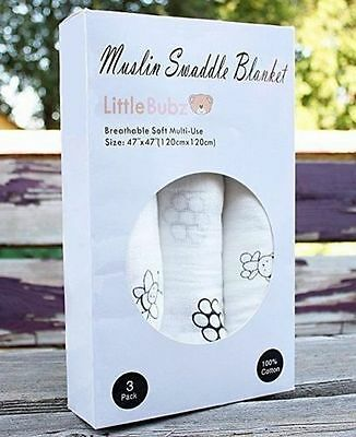 "LittleBubz - Baby Swaddle Blankets 100% Pure Muslin Cotton, 3 Pack - Lg 47""x 47"""