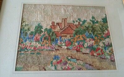 Petit point needlepoint picture very pretty bright colours lots of detail