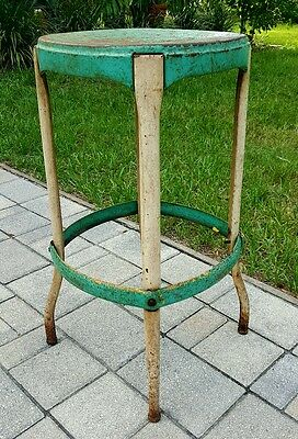 Vintage Metal Industrial Stool Kitchen Steampunk TURQUOISE Shabby Finish
