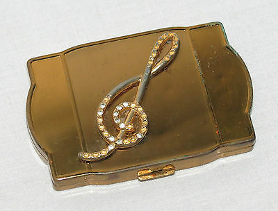 Vintage Van-Ace Music Treble Clef on top Gold Tone Powder Compact           16TS