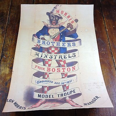 Black Americana Morris Brothers Minstrels Show Boston MA Advertising Poster Sign