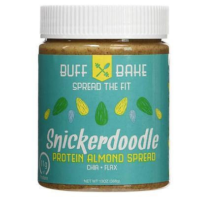 NEW Buff Bake 11g Protein Almond Butter Snickerdoodle Spread Whey Natural Flax