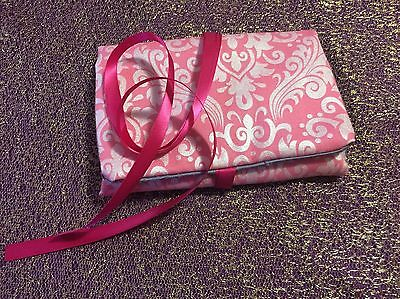 Tarot Card and Oracle Card Wrap Clutch Bag - Hand Made - Pink And Silver No. 2