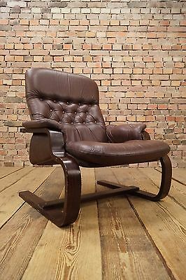 WOW 60s Retro EASY CHAIR DANISH LEATHER ARMCHAIR CANTILEVER FAUTEUIL Vintage WOW