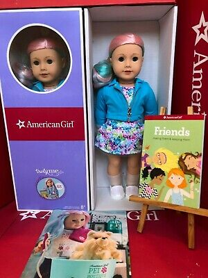 "NEW American Girl Truly Me # 88 Doll + ""Friends"" Book Long Pastel Pink Blue Hair"