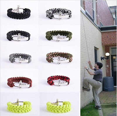 550lb 7 Strand Paracord Survival Military Weave Bracelet Cord Stainless Buckle
