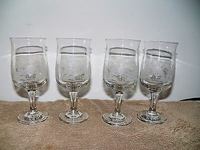 Arby Winter Holiday Christmas Stem Tulip Glasses - set of 4