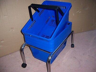 Pack of 5 Plastic Shopping Baskets Blue Plus Stand