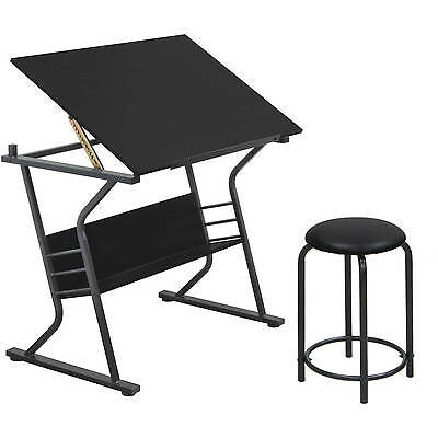 Drawing Table with Stool, Black Drafting