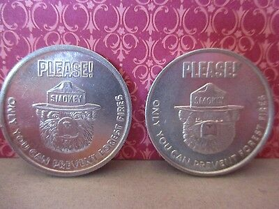 2 Vintage Smokey The Bear Tokens Coins Collectible USDA Forest Service
