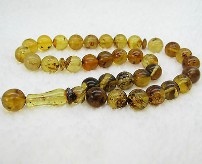 Dominican Stones Amber Prayer Green Misbaha Beads Islamic 12.75 Mm (41.7 G )#874