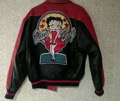 Vintage 1994 Betty Boop Ultra Rare 100% Leather Stitched Maziar Medium Jacket