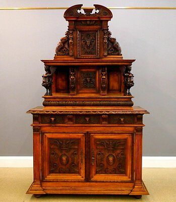 19th Century Italian Walnut Buffet with Intricate Hand-Carved Decoration Vintage